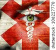 Caduceus painted on a  mans face to show support to medical heroes and first aiders - stock photo