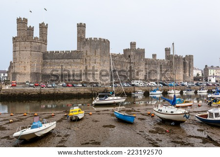 CAERNARVON, WALES, UK - September16, 2014: Caernarvon castle where in 1969, the investiture of the current Prince of Wales, HRH Prince Charles took place. - stock photo