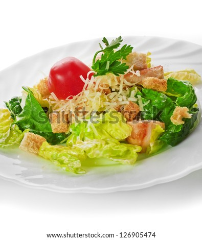 Caesar Salad isolated on a white background - stock photo