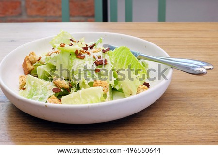 Caesar salad on the table