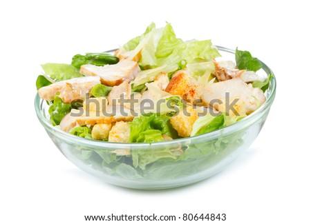 Caesar Salad on white background - stock photo
