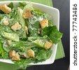 Caesar salad top down view - stock photo