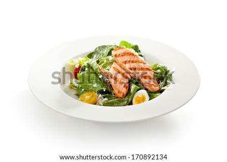 Caesar Salad with BBQ Salmon - stock photo