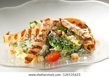 Caesar Salad with Chicken Fillet, Salad Leaf, Croutons, Cherry Tomato, Eggs and Parmesan Cheese
