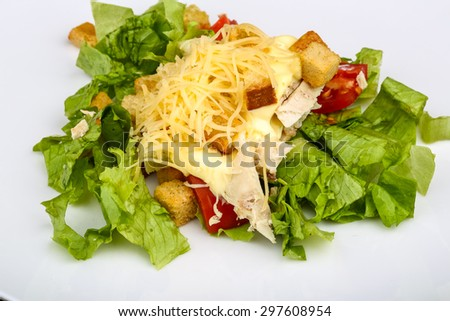 Caesar salad with chicken on the wood background