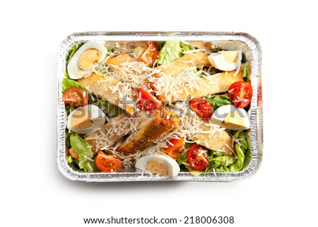 Caesar Salad with Chicken, Salad Leaf, Croutons, Cherry Tomato and Cheese - stock photo