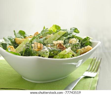 Caesar salad with copyspace - stock photo