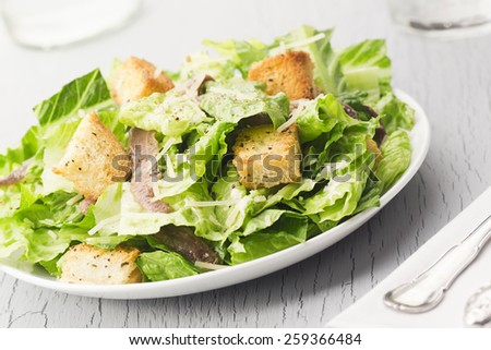 Caesar Salad with Croutons and Anchovies