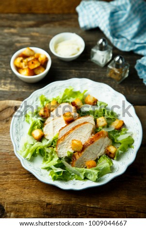 Caesar salad with fried chicken
