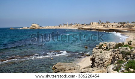 CAESAREA, ISRAEL - FEBRUAR 28, 2016: Panorama National Archaeological Park Caesarea. Ancient Caesarea Maritima city and harbor was built by Herod the Great about 25�¢??13 BC