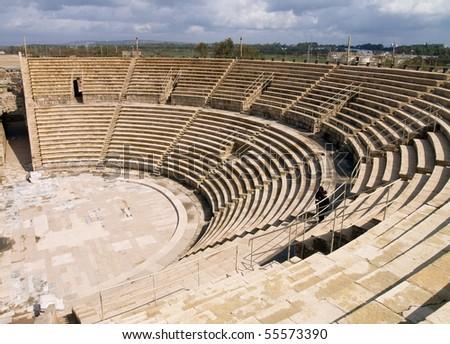 Caesarea Theatre, photo was taken in Israel - stock photo