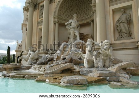 Caesars Palace Statues and Fountain in Las Vegas - stock photo