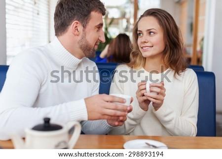 Cafe, flirting, date. - stock photo