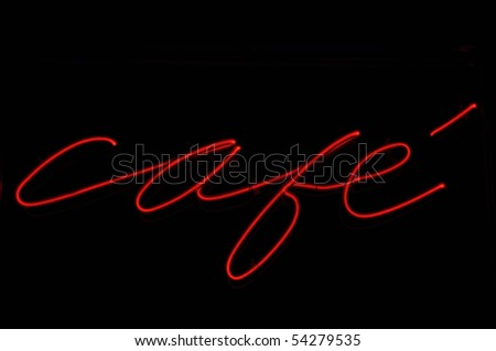 Cafe French Red and Black Neon Sign - stock photo