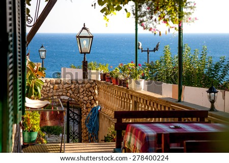 Cafe in balkan style.Montenegro. - stock photo