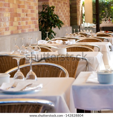 Cafe in Barcelona, Spain - stock photo