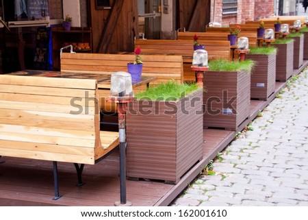 Cafe in Old Riga. Latvia - stock photo