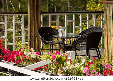 Cafe in the mountains - stock photo