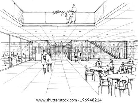 cafe interior - stock photo