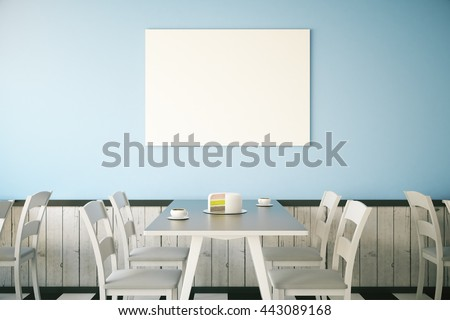 Cafe interior with cake on table and blank poster on light blue wall. Mock up, 3D Rendering - stock photo