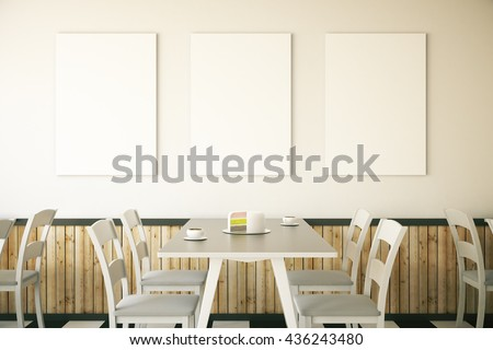 Cafe interior with cake on table and three blank posters on light wall. Mock up, 3D Rendering - stock photo