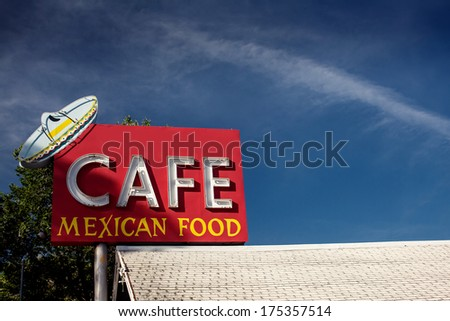 Cafe mexican food sign along historic Route 66 in Arizona. Vintage Processing. - stock photo
