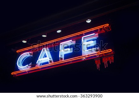 Cafe neon sign - stock photo