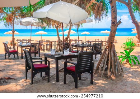 Cafe on beach - stock photo