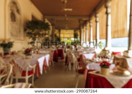 Cafe on Lake Garda - stock photo