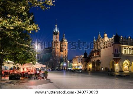 Cafe on Rynek Glowny Square in Krakow, Poland. - stock photo