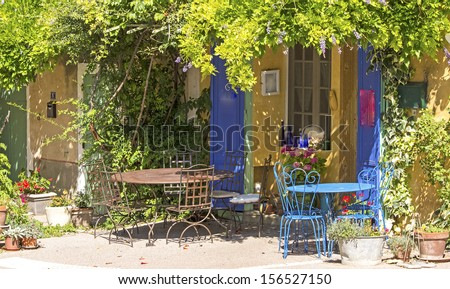 Cafe on sidewalk, in Provence village. France.