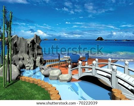 Cafe on the beach, ocean and sky - stock photo