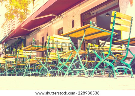 Cafe on the Streets of Berlin - stock photo