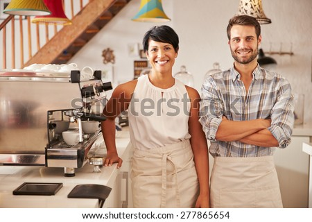 Cafe owners, portrait - stock photo