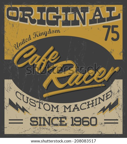 Cafe Racer - vintage motorcycle poster - eps available