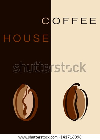 Cafe, restaurant card or coffee house creative menu with beans. Raster illustration. Vector file included in portfolio - stock photo