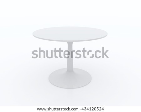 Cafe, restaurant table isolated on white. 3D illustration.