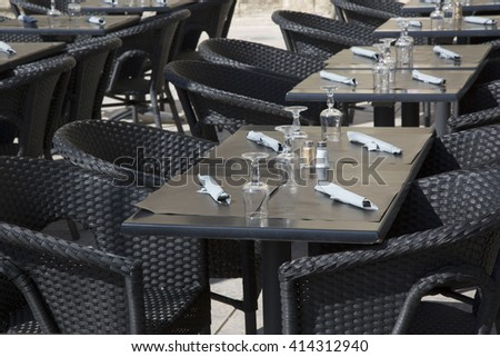 Cafe Restaurant Tables and Chairs on Street