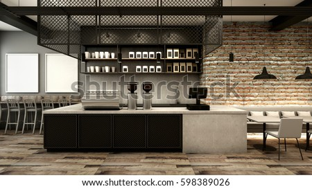 Cafe Shop U0026 Restaurant Design Modern Loft Counter Steel Black Top Counter  Concrete.side Brick
