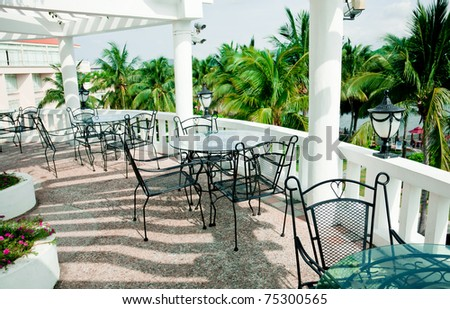 Cafe Terrace With Iron Patio Furniture