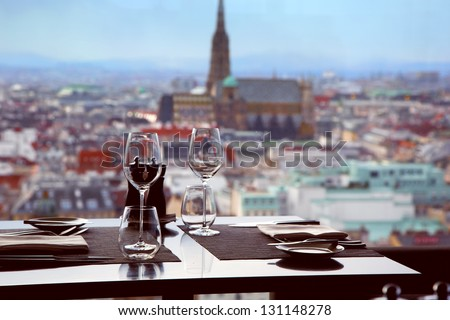 Cafe with view of St. Stephan cathedral in Vienna - stock photo