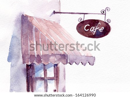Cafe with vintage signboard and canopy - stock photo