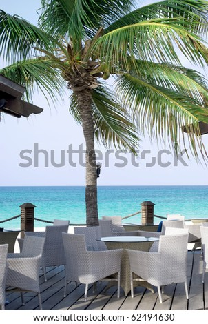 Cafe with white chairs  on the beach,  obn caribian ocean and sunny  sky with palm tree.
