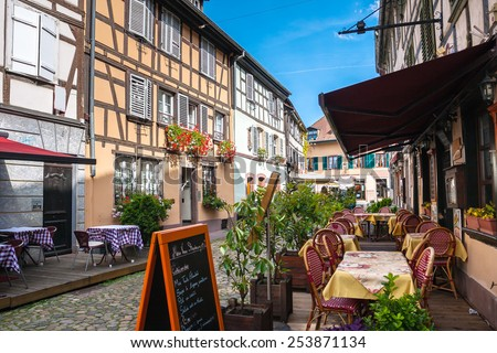 Cafes in Petite-France in Strasbourg. Petite-France is an historic area in the center of Strasbourg, France - stock photo