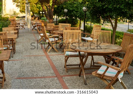 cafes on the summer terrace