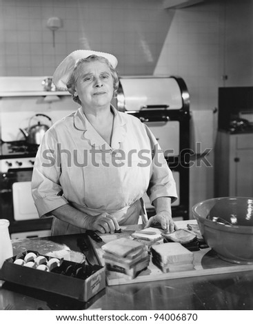 CAFETERIA LADY - stock photo
