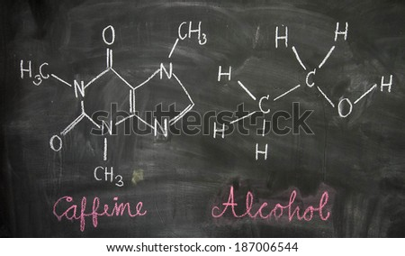 Caffeine and Alcohol chemical molecule structure on blackboard. Caffeine and Alcohol molecule drawing on chalkboard as it is found in coffee, beer, beverage and tea etc - stock photo