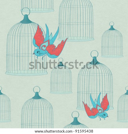 cage and birds seamless background