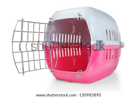 Cage for transporting pets. With the door open. - stock photo