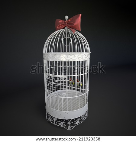Cage with birds, a symbol of captivity and enslavement - stock photo